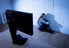 Teenager woman abused suffering internet cyberbullying scared sad depressed in fear face expression Stock Images