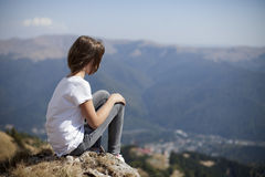 Teenager woman admiring mountain Royalty Free Stock Image