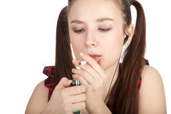 Teenager woman with cigarette Stock Photo
