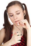 Teenager woman with cigarette Royalty Free Stock Images