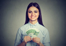 Teenager woman with euro cash money Royalty Free Stock Photography