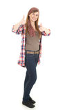 Teenager woman with thumbs up, full length Royalty Free Stock Image