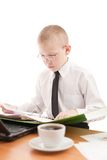 Teenager Working In Usual Office Space Royalty Free Stock Photography
