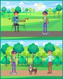 Teenager Young Male People in Park Set Vector stock illustration