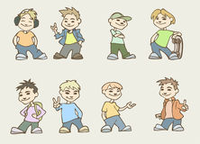 Teenagers. Vector illustration of a funny cartoon guys Stock Images