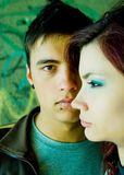 Teenagers. Teenage couple with problems in the street Royalty Free Stock Photography