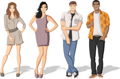 Teenagers. Group of fashion cartoon young people. Teenagers Royalty Free Stock Image