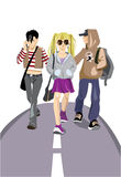 Teenagers. Three teenagers of going on a road Stock Image