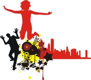 Teenagers. Color silhouettes of young people Royalty Free Stock Photos