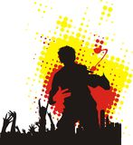 Teenagers. Silhouette of the teenager on red and yellow background Stock Images