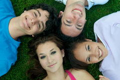 Teenagers from above. Group of teenagers in nature from above Royalty Free Stock Images