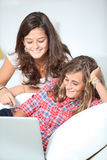 Teenagers addiction to internet Royalty Free Stock Photos