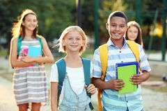 Teenagers with backpacks and notebooks walking in park. Teenagers with backpacks and notebooks walking in the park Stock Photography