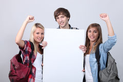 Teenagers with backpacks Stock Photography