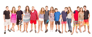 Teenagers. With beach clothes isolated in white Stock Image