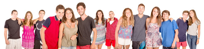 Teenagers. With beach clothes isolated in white Royalty Free Stock Photography