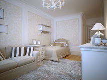 Teenagers bedroom provence design. 3D render Stock Image