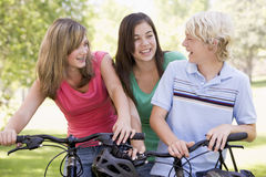 Teenagers On Bicycles stock images