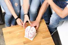 Teenagers on the biology lesson. A group of school friends on anatomy lesson Stock Image