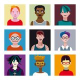 Teenagers Boys Avatars Set Royalty Free Stock Image