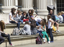 Teenagers at the British Museum Stock Image
