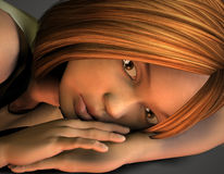 Teenagers can not sleep, as a portrait. 3d rendering of a horizontal Girls as an illustration of a portrait Royalty Free Stock Photos