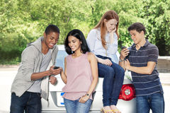 Teenagers with car Royalty Free Stock Photo