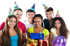 Teenagers celebrate birthday Stock Images