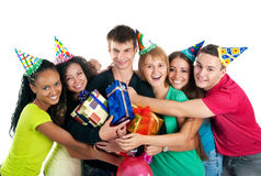 Teenagers celebrate birthday Stock Photography