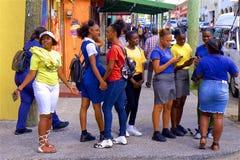 Teenagers/children in Antigua, Caribbean stock photography