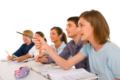 Teenagers in classroom Stock Photos