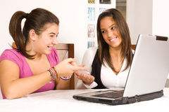 Teenagers with computer Royalty Free Stock Image