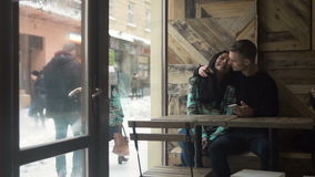 Teenagers Couple in Cafe stock footage