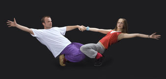 Teenagers dancing breakdance Stock Photo