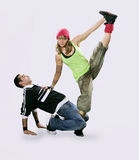Teenagers dancing breakdance Royalty Free Stock Photo