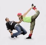 Teenagers dancing breakdance Stock Photos