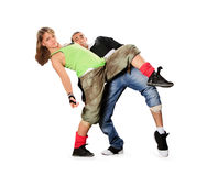 Teenagers dancing breakdance in action Royalty Free Stock Images