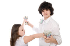 Teenagers divide money Stock Photography