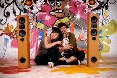 Teenagers dog urban graffiti Royalty Free Stock Image
