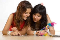 Teenagers doing homework Royalty Free Stock Photo