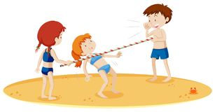 Teenagers Doing Limbo Dance at the Beach. Illustration Royalty Free Stock Image