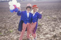 Teenagers Dressed As Uncle Sam, United States Stock Photo