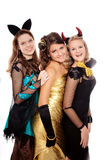 Teenagers dressed in costumes for Halloween Stock Photos