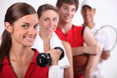Teenagers dressed for sports Stock Image