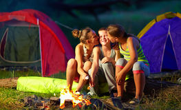Teenagers flirting in summer camp Stock Photography