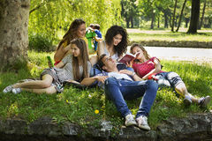 Teenagers free time. At the park Stock Photos