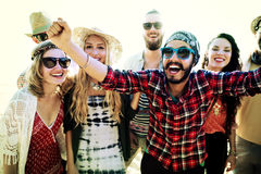 Teenagers Friends Beach Party Happiness Concept Royalty Free Stock Photography