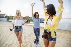 Teenagers Friends Beach Party Happiness Concept. royalty free stock image