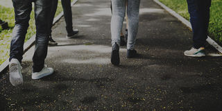Teenagers Friends Friendship Team Concept. Teenagers Friends Hangout Walking Outdoors Royalty Free Stock Photos