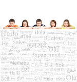 Teenagers with a giant, blank, white billboard Royalty Free Stock Photo